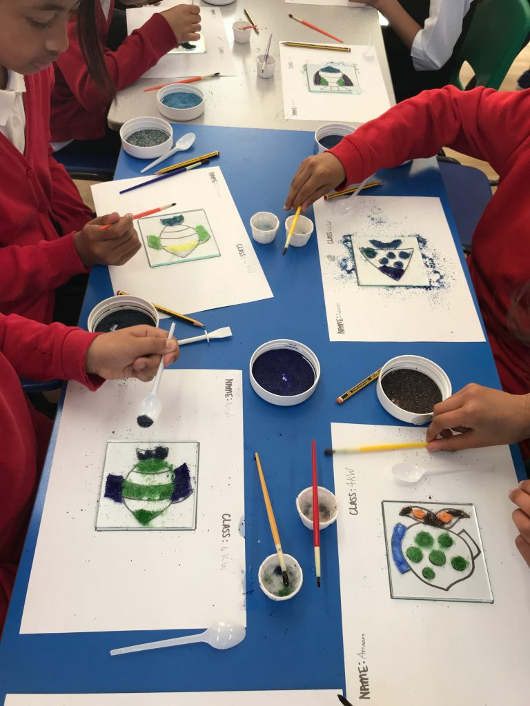 A fused glass tile workshop at Mayflower primary school, Leicester