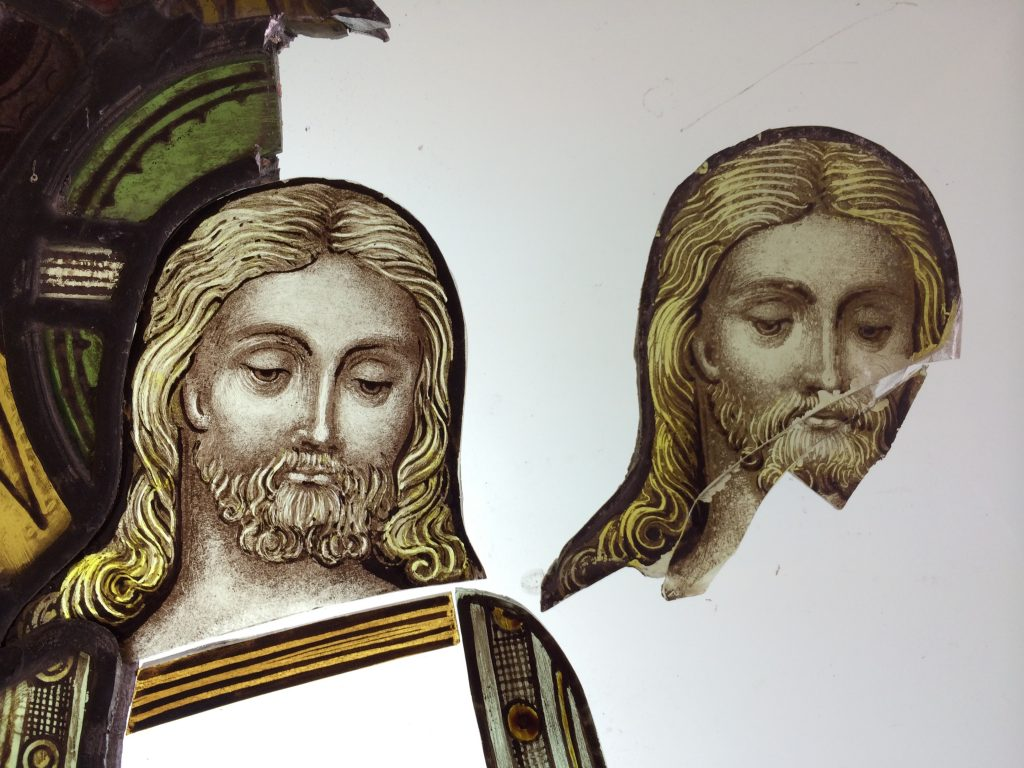 A newly painted detail for a stained glass window