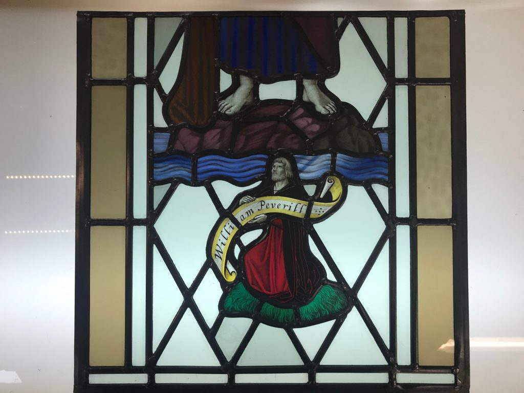 The restored stained glass window