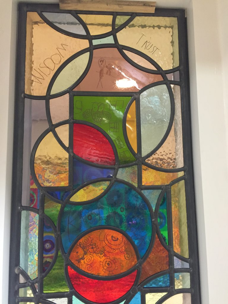 Detail from the decaled windows at Great Bowden primary school