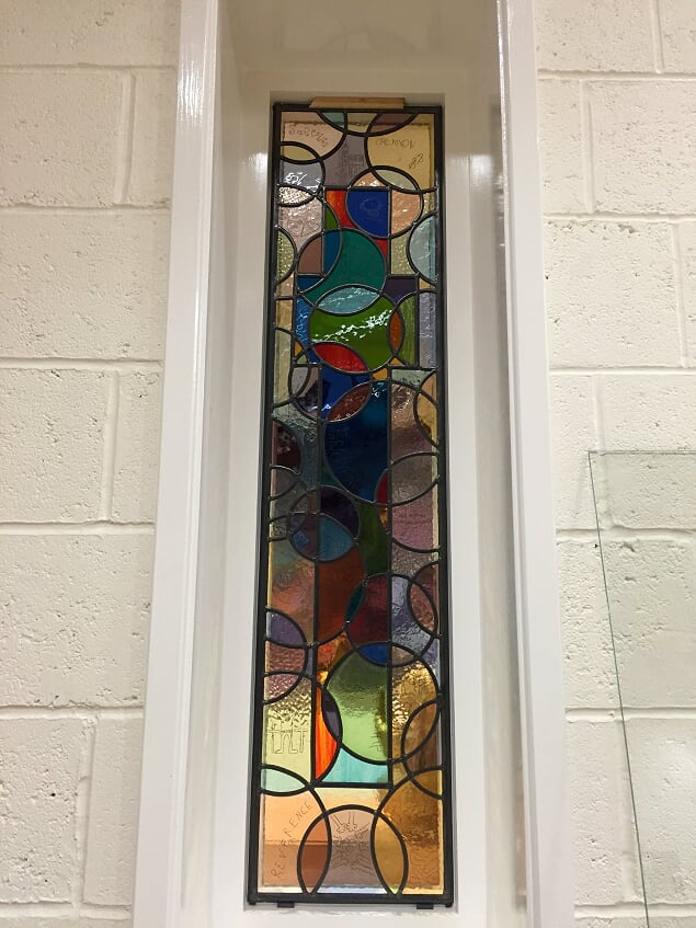 One of the decaled windows at Great Bowden primary school
