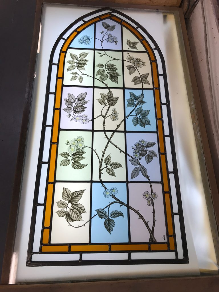 This is one of three handpainted stained glass windows for a client in Epping.