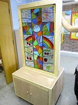 A freestanding glass panel for a school in mountsorrel based on pupils drawings.