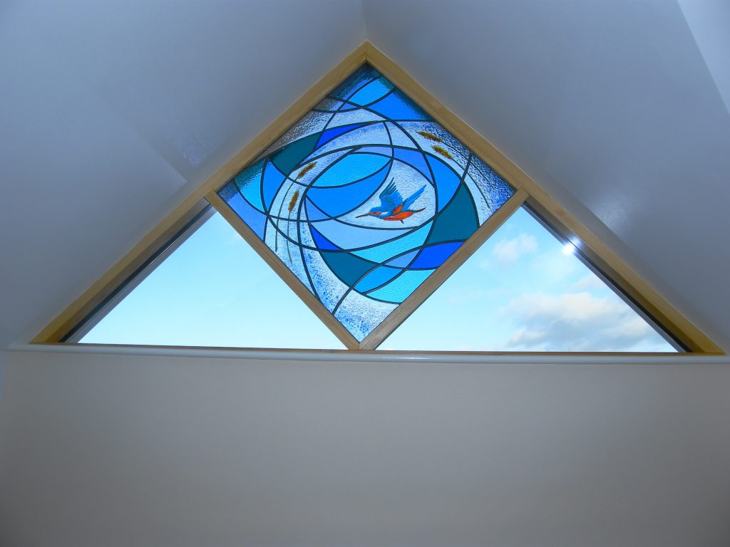 This part fused and leaded panelis fitted in the clients new build bungalow looking over the river, hence the kingfisher.