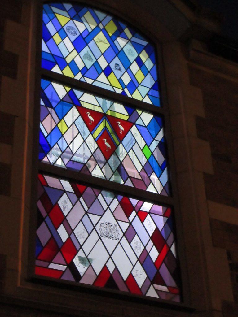 A new design triple glazed stained glass window for Loughborough grammar school
