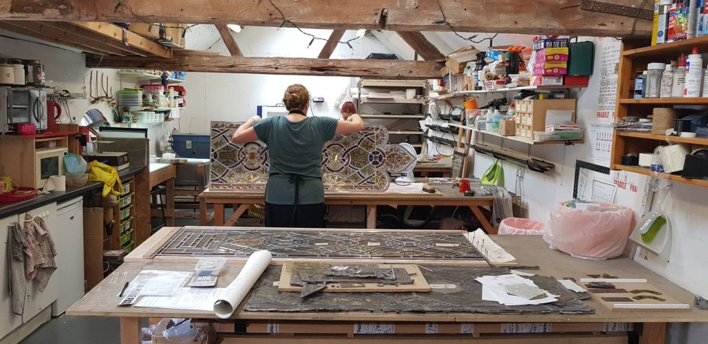 Me restoring some church stained glass
