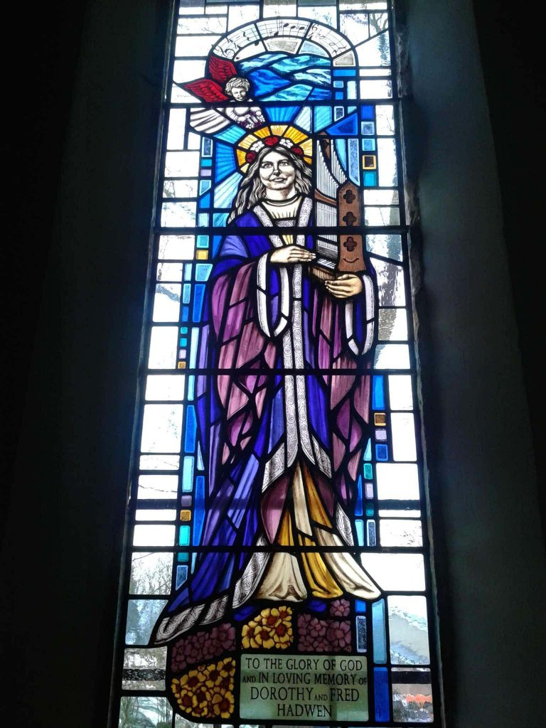 St Cecilia stained glass window