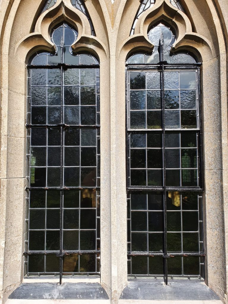 Nether Broughton church restoration of leaded windows, metal openers and re-tipping of bars